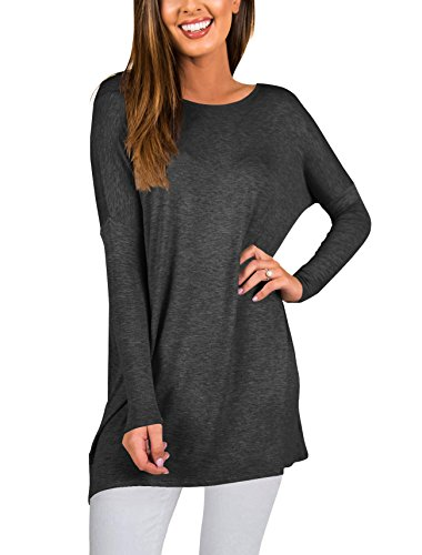 PRETTODAY Women's Long Sleeve Tunic Tops Basic Round Neck Loose Blouses (Jersey Long Sleeve Blouse)