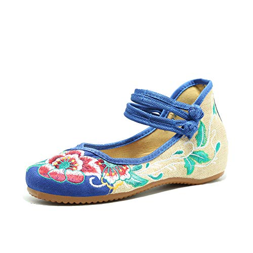 CINAK Embroidered Shoes Chinese Women's Embroidered Flowers Comfortable Loafers Ballet Slip On Style Cheongsam Flats ()