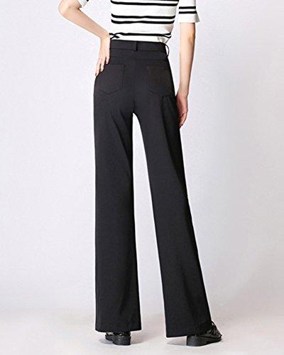 Pantalones Tela Alta Negro Largos De Pantalones Mujer Pantalones Recto Anchos Cómodos Cintura 78Ky5Z