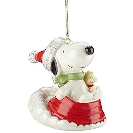 lenox sledding with snoopy christmas ornament