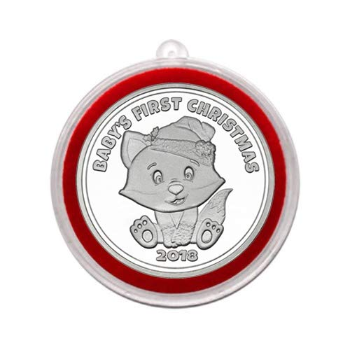 Collectible Silver Medallion - 2018 - Baby's First Christmas Baby Fox Silver Medallion in Ornament Holder - Uncirculated