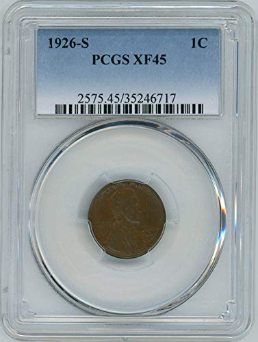 1926 S Lincoln Wheat Cent 1c XF45 PCGS