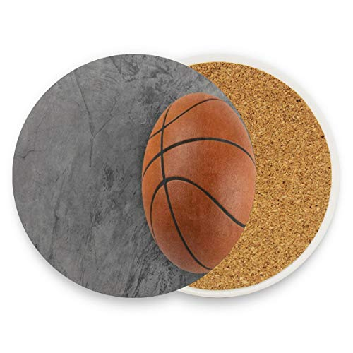 3D Basketball Coasters, Protect Your Furniture From Stains,Coffee, Drink Coasters Funny Housewarming Gift,Round Cup Mat Pad For Home, Kitchen Or Bar 1 Piece ()