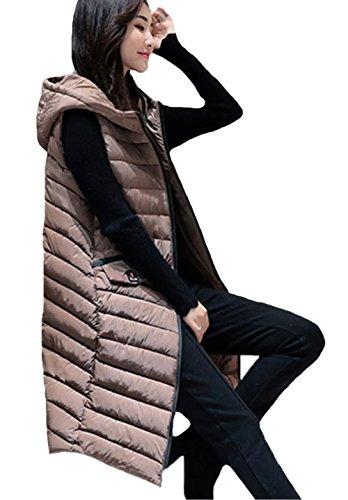MengFan ダウンベスト レディース ダウン ベスト 綿 ベスト 秋冬 ジャケット ノースリーブ ブルゾン アウター ロングデザイン スリム 通勤 フード付き