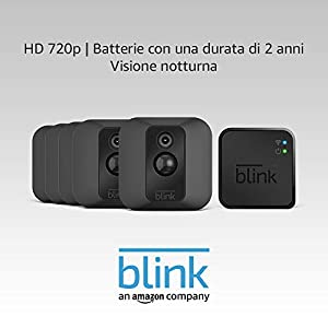 Sistema di telecamere / sicurezza domestica Blink XT, a batteria, esterni, rilevatore di movimento, archiviazione sul cloud, inviare notifiche allo smartphone (sistema a 5 videocamera XT)