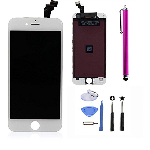 Cococka LCD Touch Screen Digitizer Frame Replacement Assembly Full Set for iPhone 6 (White)