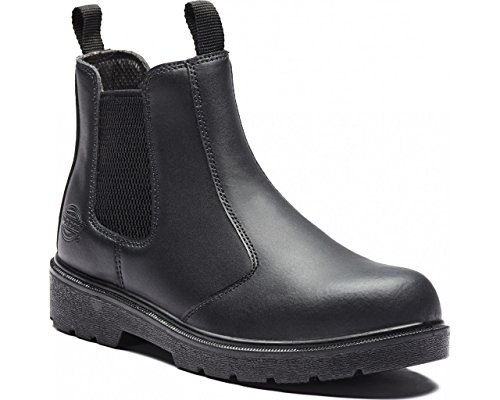 Dickies Mens Work Safety Steel Toe Cap Midsole Leather Dealer Boots Negro - negro