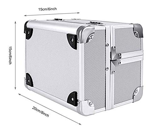 Aluminum Makeup Train Case,Mini Makeup Organizer Jewelry Cosmetic Box with 2 Trays, Mirror and Key Lock silver