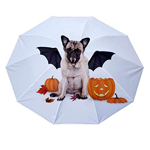 10 ribs multi-function automatic on/off - sun protection - rainproof - windproof umbrella, theme - pug dog dressed up as bat for halloween with funny pumpkin lantern ()