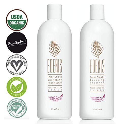 EDENIS Certified Organic Nourishing Hair Shampoo & Conditioner for Hydration & Restoration of Color Treated Hair | Lasting Color All Natural Shea Moisture & Organic Plant Extracts 8 fl oz of each