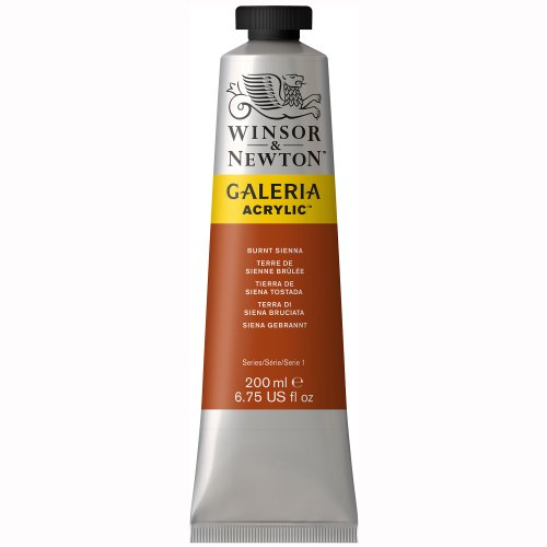 Winsor & Newton 2136074 Acrylic Color Tube, 200-ml, Burnt Sienna