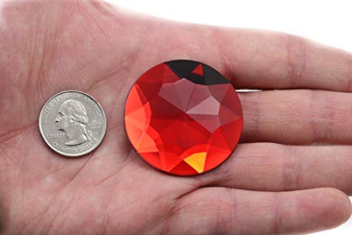 43mm Red Ruby H103 Flat Back Round Acrylic Gems Pro Grade Individually Wrapped - 4 Pieces