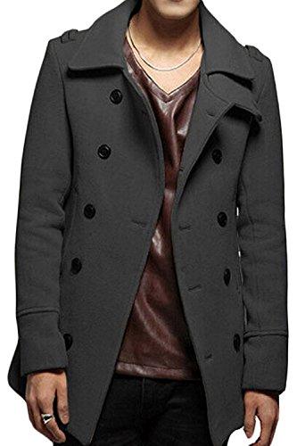 LeNG Men's Wool Blend Button Top Coat Dark GreyUS Small