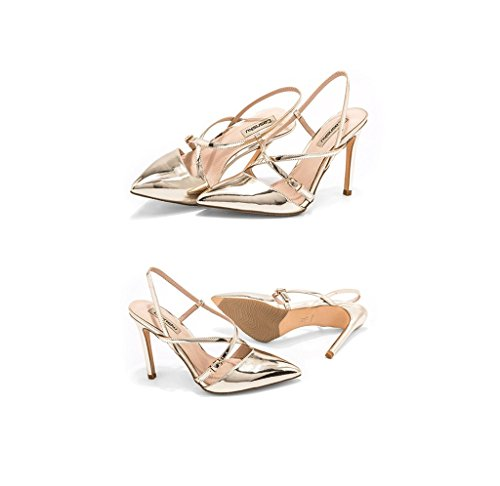 Ankle Elegant Sandals Leather Shoes Spring Heels Dream Summer Pointed 37 Size Gold Sexy and Color High Shoes wv0qYxqzP