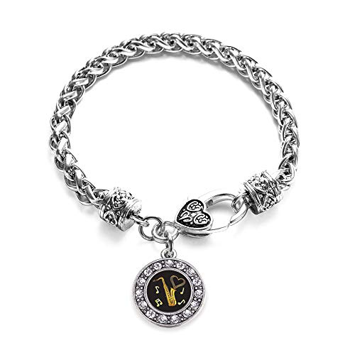 Inspired Silver - Saxophone Braided Bracelet for Women - Silver Circle Charm Bracelet with Cubic Zirconia Jewelry
