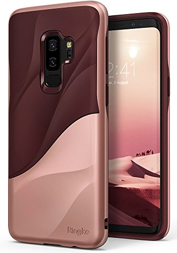 Ringke Wave Compatible with Galaxy S9 Plus Case Dual Layer Heavy Duty 3D Textured Shock Absorbent PC TPU Full Body Drop Resistant Protection Cover for Galaxy S 9 Plus (2018) - Rose Blush