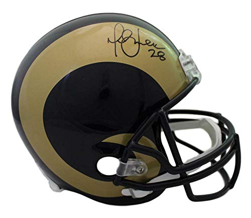 (Marshall Faulk Autographed/Signed St Louis Rams 00-16 Replica Helmet JSA)