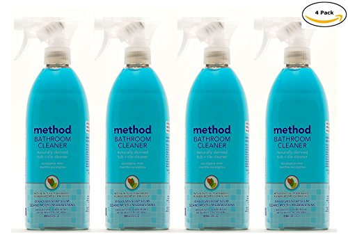 Method Naturally Derived Bathroom Cleaner Spray for Tub + Tile, Eucalyptus Mint, 28 FL Oz Mega Value, Pack of 4 (28 x 4, Total 112 Oz)