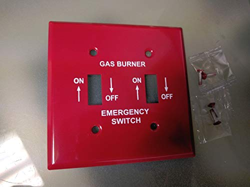 Emergency Metal Switch Plates - Red Metal Emergency GAS Burner Furnace Wall Plate Cover 2-Gang Toggle Switch