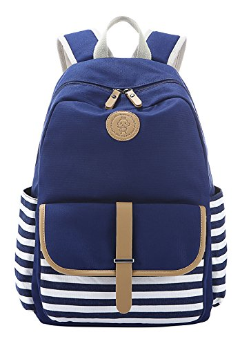 Veenajo Unforeseeable Lightweight Canvas School Backpack Laptop Bag Shoulder Daypack Handbag Navy
