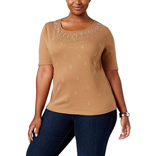 Karen Scott Womens Plus Embellished Scoop Neck Pullover Top Brown (Embellished Scoop Neck Top)