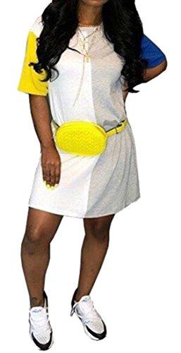 Comodo Larghi Vestito Cromoncent Girocollo Donna Un Di Contrasto Patchwork Giallo linea Colore WfqnaFwU