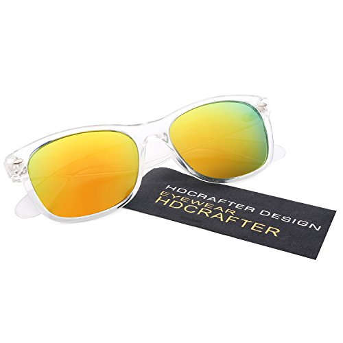 HDCRAFTER Classic Unisex Polarized Mirror Lens Wayfarer Sunglasses - Mirrored Clear Sunglasses Frame