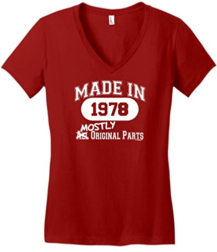 ThisWear 40th Birthday Gifts For Dad 40th Birthday Gift Made 1978 Mostly Original Parts Juniors V-Neck Medium Classic Red