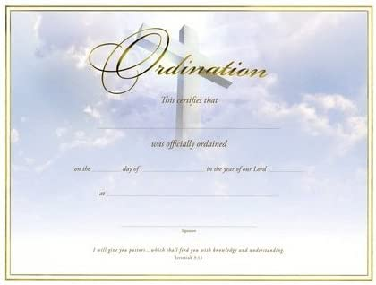 Cross Gold Foil Embossed Certificate-Ordination Pk//6