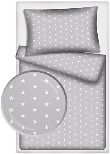 Kinderbettwäsche Stars 2-tlg. 100% Baumwolle 40x60 + 100x135 cm mit Reißverschluss (grau)