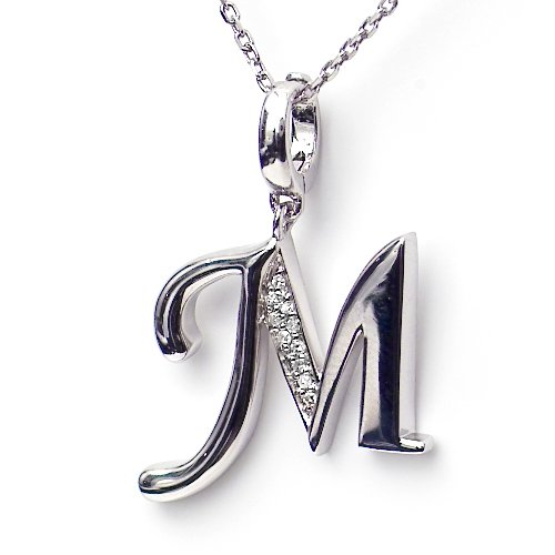 Silver Diamond Initial Pendant