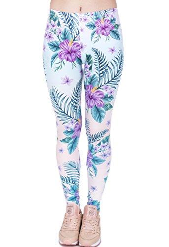 Hanessa Frauen Leggins Grün Weiß Türkis Bedruckte Leggings Hose Frühling Sommer Kleidung Tropische Blumen L28