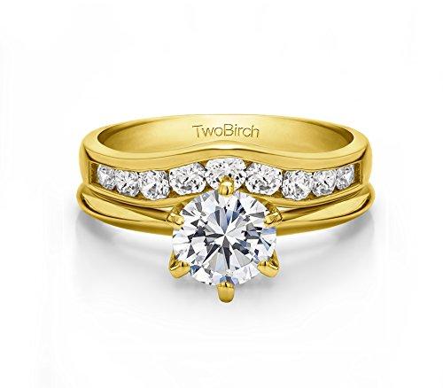 1 Carat Diamond Nine Round Stone Channel Set Chevron Contour Wedding Band in 10K Yellow Gold (G,I2) (size 8)