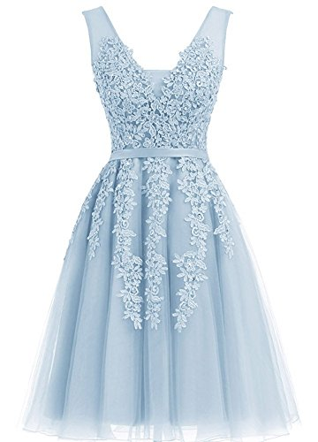 Beaded V-neck Skirt (YIRENWANSHA Lace Appliqued Prom Dress Short 2018 Homecoming Dresses for Girls Graduation Cocktail Gown V Neck Beaded Evening Sash Knee Length Formal Skirts DPM21 Light Blue Size 4)