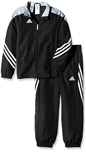 Training Presentation Suit - adidas Boys Tracksuit Woven Sereno14 Boys Presentation Football Training Suit Black/Silver/White 7-15 Years (128cm (Small Youth))