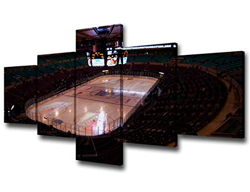 The Madison Square Garden Ice Shortly Before the Rangers and Florida Panthers Took the Ice Print On Canvas Wall Artwork Modern Black and White Home Decor Stretched and Framed 5 Piece/Set - 50''Wx24''H