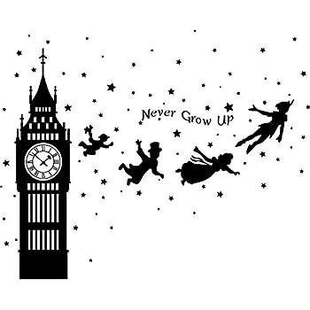 02f4cde7b123 Runtoo Peter Pan Wall Decals Big Ben Clock Never Grow Up Quotes Stars Wall  Stickers Baby Nursery Room Kids Bedroom Wall Decor [Black]