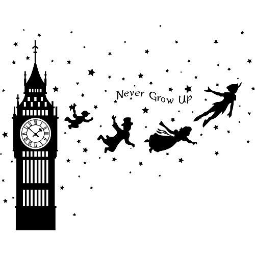 Runtoo Peter Pan Wall Decals Big Ben Clock Never Grow Up Quotes Stars Wall Stickers Baby Nursery Room Kids Bedroom Wall Decor [Black]