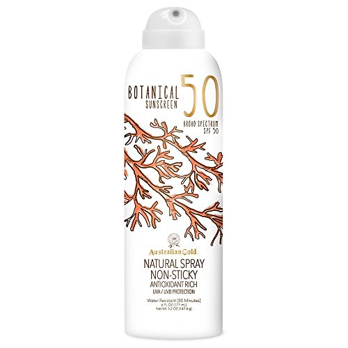Australian Gold Botanical Sunscreen Natural Spray, Broad Spectrum, Water Resistant, SPF 50, 6 Ounce