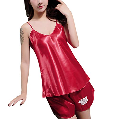 (MmNote Womens Sexy Satin Lingerie Sleeveless Pajamas Embroidery Flower Set Underwear Red)