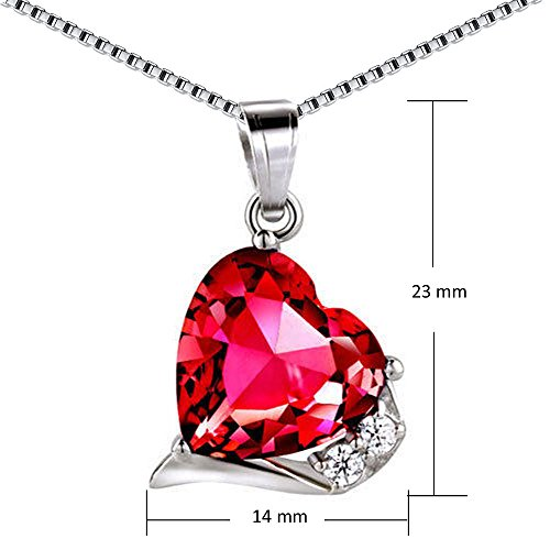 Mabella Sterling Silver Heart Jewelry Sets 7 CTW Simulated Ruby Pendant Earrings Set, Gifts for women by MABELLA (Image #2)