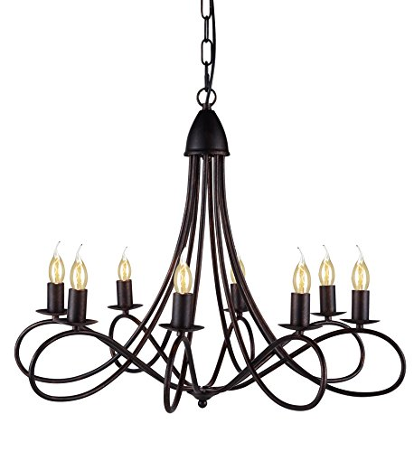 Lyndon Collection - Elegant Lighting Lyndon Collection 8-Light Pendant Lamp, Dark Bronze Finish