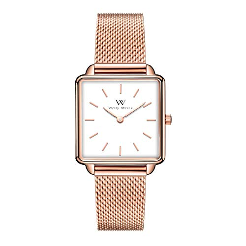 Welly Merck Square Womens Watch 28MM Minimalistic Swiss Quartz Movement Sapphire Crystal Ultra Thin Stainless Steel Wrist Watch with Interchangeable Mesh Strap,5ATM Water Resistant