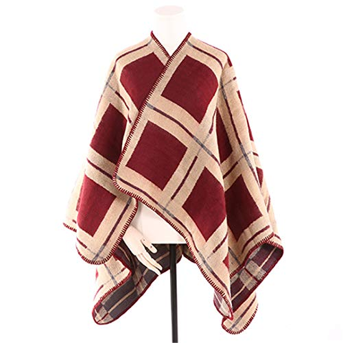 - Women Cashmere Poncho Wool Winter Scarf Knitted Poncho Cape Plaid Check Blanket Bufanda As Picture