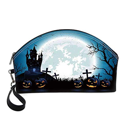 Halloween Decorations Small Portable Cosmetic Bag,Spooky Concept with Scary Icons Old Celtic Harvest Figures in Dark Image For Women,One size -
