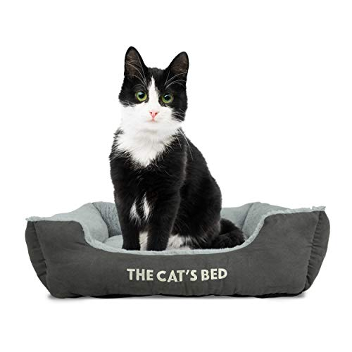 The Cat's Bed, Premium Cat Bed in Grey, Luxury Plush Pillow & Fully Washable, Extremely Soft, Warm & Comfortable - The Ultimate Cute Cat Kitten Bedroom Decor