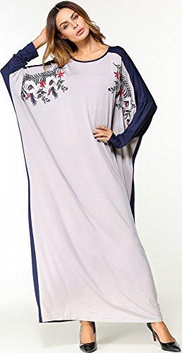 Flügelhülse Muslimisch Ansatz O Damen Weich Knöchellang Kleid Lose Drucken 5444Grau Langarm Wasserfall Ababalaya ZnXqW05fX
