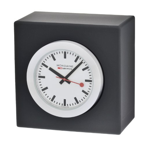 Chrome Plated Desk Clock - Mondaine A660.30318.84SBB Quartz Analog Watch Shelf Clock