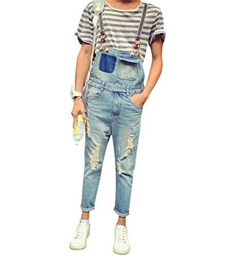 Salopette Hellblau Jeans Long Estate Taglie Hx Abiti Comode Fashion Pantaloni Tuta Azzurro Vintage Distrutta Ragazzi Hole Denim Ripped tTIt4qw