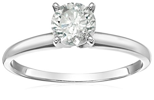 14k Round Solitaire White Gold Engagement Ring (1carat, H-I Color, I3 Clarity), Size 7